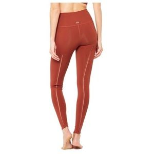 Like new red orange Alo Yoga dash leggings small